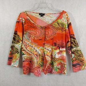 Womens KAKTUS Cardigan Sweater - Orange - Sz L
